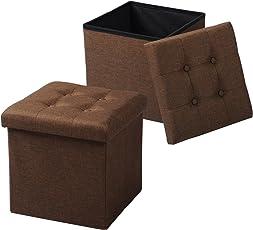 WOLTU 2ERSH06 2er Set Sitzhocker mit Stauraum Sitzwürfel Sitzbank Faltbar Truhen Aufbewahrungsbox, Deckel Abnehmbar, Gepolsterte Sitzfläche aus Leinen, 37,5x37,5x38CM(LxBxH)
