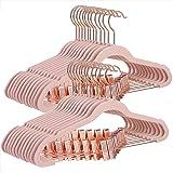 SONGMICS fluwelen kleerhanger, set van 24, 42,5 cm Broekhanger met verstelbare clips in roségoud, heavy duty, anti-slip, ruim