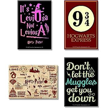 Mc Sid Razz Harry Potter Combo Pack of 4 Rectangular Fridge Magnet (Leviosa + Red + Muggles + Hogwarts 9 3/4) Gift Set Birthday Gift Officially Licensed by Warner Bros,USA