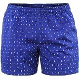 Costume Uomo Mare Pantaloncino Boxer Corto Blu con Ancore Bermuda da Bagno Piscina Shorts con Tasche Elastico Calzoncino Mare
