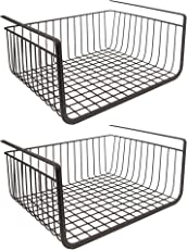 Under Shelf Basket Wire Rack by House of Quirk Easily Slides Under Shelves for Extra Cabinet Storage