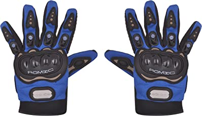 Romic Leather Motorcycle Full Gloves (Blue, XL)