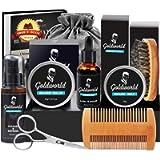 Beard Grooming Kit w/Beard Wax,Beard Shampoo/Wash,Beard Oil,Beard Balm,Beard Comb,Beard Brush,Beard Shaper/Shaping Tool…