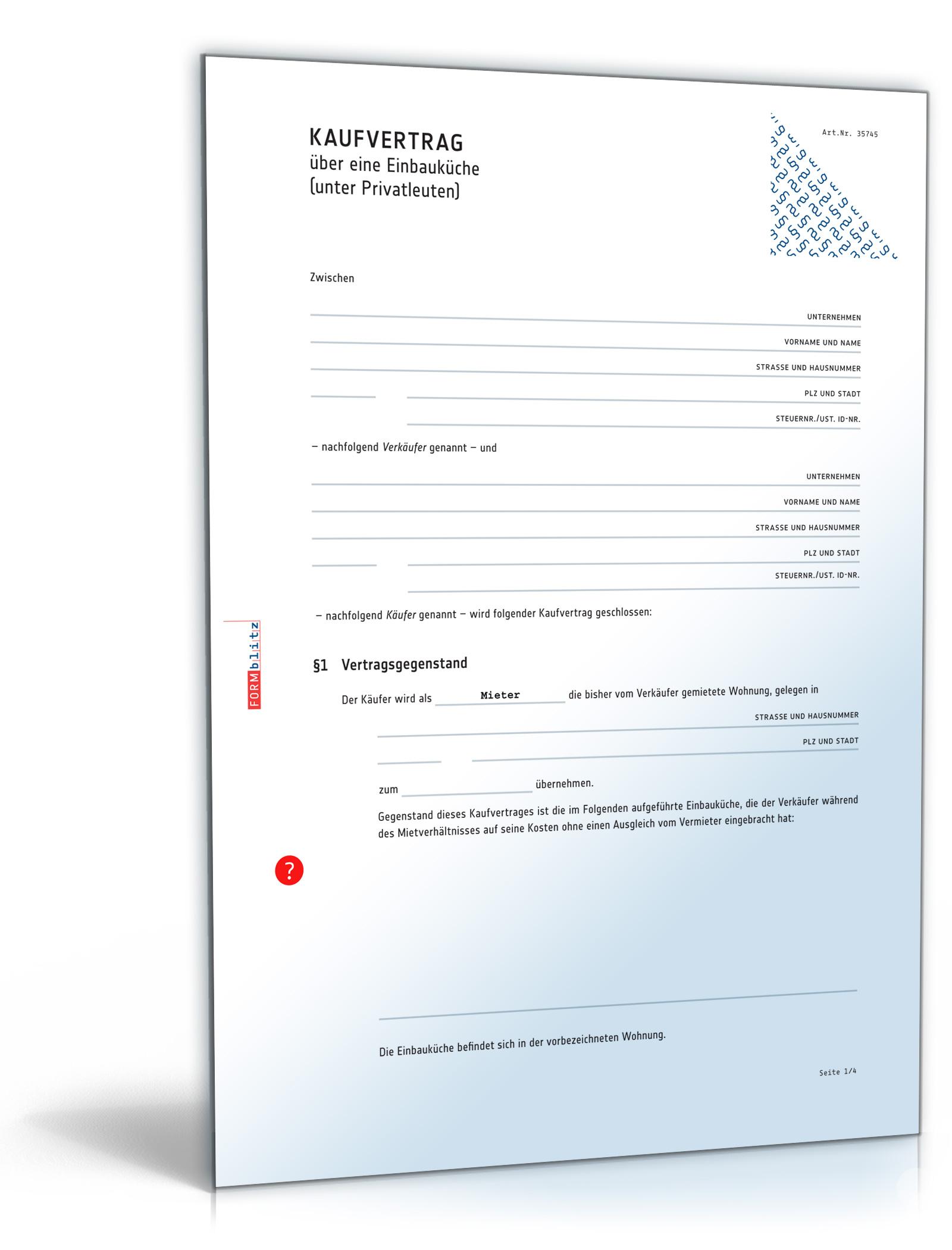 Kaufvertrag Küche - Vertrag zum Verkauf einer Einbauküche unter Privatleuten (PDF) [Download]