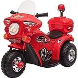 HOMCOM Moto Scooter électrique pour Enfants modèle Policier 6 V 3 Km/h Fonctions Lumineuses et sonores Top Case Rouge