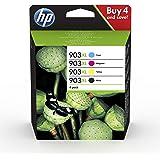 HP 903XL 3HZ51AE, Negro, Cian, Magenta y Amarillo, Cartuchos de Tinta de Alta Capacidad Originales, Pack de 4, compatible con