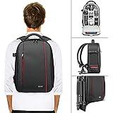 Nyare professionellt kamerafodell ryggsäck väska – vattentät stötsäker 16,5 x 11 x 5,5 tum med stativhållare och extern ficka