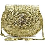 Trend Overseas Handmade Bridal Women's Antique Brass Purse Ethnic Metal Clutch Gift