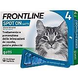 Frontline Spot On, 4 Pipette, Gatto, Antiparassitario per Gatti e Gattini di Lunga Durata, Protegge da Zecche, Pulci e Pidocc