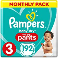 Pampers Baby-Dry Nappy Pants Size 3, 192 Nappy Pants, Monthly Saving Pack, Easy-On with Air Channels for Up to 12 Hours…