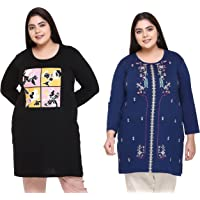 RYSH Women's Cotton Regular Fit Long Sleeve Longline T-Shirt, Pack of 2
