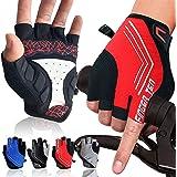 Cycling Gloves for Men Fingerless Gel Padded No Slip Value Pair, Half Finger Glove Breathable Lightweight Mountain Bike Ridin