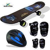 "Jaspo Dragon Fire Intact Medium Skateboard Combo (26.5 * 6.5"") (Skateboard+Helmet+Elbow+Knee+ (for Age Group 7 Years and Above)"