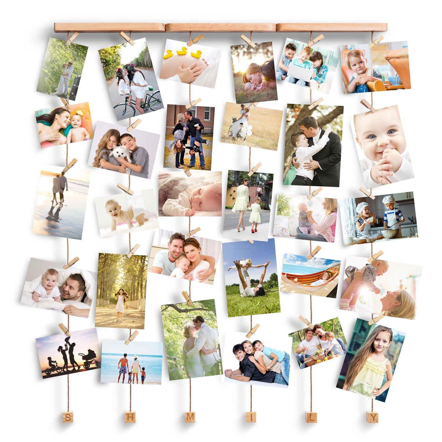 Wall Hanging Display Collage Picture Photo Frames Multiple Wood Set ...