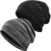EINSKEY Slouch Beanie Hat, 2 Pack Unisex Jersey Skull Cap Baggy Hat Fashion Headwear for Men & Women
