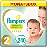 Pampers Premium Protection New Baby Größe 2, 4-8kg Tragepack, 240 Windeln, Monatsbox