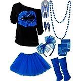 Blulu Juego de Accesorios de Disfraz de los Años 1980, Camisetas Tutu Diadema Pendientes Colalr Calentadores de Pierna (Azul
