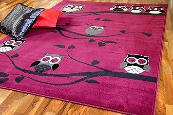 Kinderteppich eule rosa  Kinderteppich Trendline Eulen Pink Lila Rosa in 4 Größen: Amazon ...
