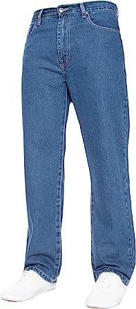 Mens Straight Leg Jeans Basic Heavy Work Denim Trousers Pants Big Tall King Sizes