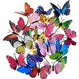 Shappy 20 Piezas Estacas de Mariposas de Jardín y 4 Piezas Estacas de Libélulas Adornos de Jardín para Decoración de Patio Fi
