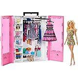 Barbie Fashionista Armario portable con muñeca incluida, ropa, complementos y accesorios de muñecas, regalo para niñas y niño