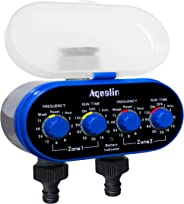 Aqualin Two Outlet Electronic Water Timer Garden Irrigation System Controller, Blue