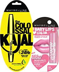 Maybelline New York Colossal Kajal, 0.35g and Baby Lips Love Color, 4g, Pink Lolita (at 20% off)