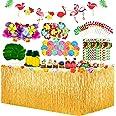 Yojoloin 128 st Hawaiiansk tropisk festdekorationsset, Hawaiiansk bordskjol + 20 st palmblad + 30 st Hawaiianska blommor + 1