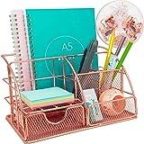 Rose Gold Desk Organiser with Drawer, Multi-Use Metal Desktop Organizer, Office Organiser for Office Desk (Include 72pcs Meta