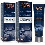 2 x NO HAIR CREW Premium Enthaarungscreme für den Intimbereich – extra sanfte Haarentfernung für Männer, 2er Set 200ml