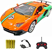 Popsugar Lamborghini 1:18 Four Door Opening Car with Rechargeable Battery and Charger RC car for Kids