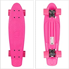 Relaxdays Kinder Skateboard einfarbig, 22 Zoll Profi Komplettboard, Mini Cruiser m. Alu Achsen u. ABEC 7, versch. Farben