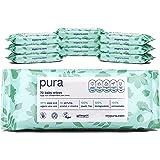 Pura - Lingettes pour Bébé (10 Paquets de 70 Lingettes), 100 % Sans Plastique, Biodégradables, 99 % d'Eau, Aloe Vera Bio, Vég