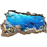 3D Muurtattoo muurgat muursticker muursticker doorbraak dieren zelfklevend H 60 x B 100 slaapkamer woonkamer (WL42 vissen)