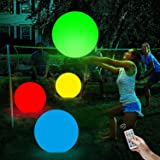SooFam LED Beach Ball,Pool Toys 16 Colors Glow Ball 16'' Inflatable LED Floating Pool Light with Remote with Remote Glow in T
