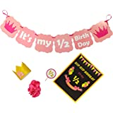 Untumble Half Birthday Decorations, Six Month Birthday Decor for Girls, Half Birthday Photo Shoot Pack for Girl Baby, Pink Si