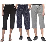 SHAUN Women's Loose Fit Capris(Pack of 3)