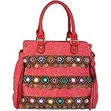 styleBREAKER borsa in tela con manici in stile etnico con ricami, monete, specchi, effetto juta, borsa a tracolla, borsa, da