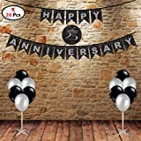 PARTY PROPZ™ 25TH ANNIVERSARY COMBO INCLUDED 1 SET 25TH ANNIVERSARY BANNER, 25 PIECES BLACK AND SILVER LATEX BALLOON / 25TH A