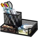 Desk Supplies Organiser, Mesh Desk Organizer Office Supplies with Pencil Holder and Storage Baskets for Desk Accessories, 3 C