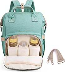 Diaper Backpack for Mommy By House of Quirk Waterproof Nappy Bag with Stroller Hooks Rucksack Lightweight/Large Capacity/Durable - Green