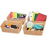 Amazon Brand - Solimo Storage Basket, Set of 4, Small, Beige