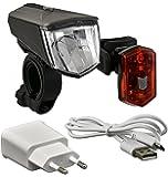 Büchel LED-Akkuleuchtenset, 80 Lux, Frontlampe: Vail + Akku-Rücklicht: Micro Light, inkl. Ladegerät, StVZO zugelassen, schwarz, 51252526