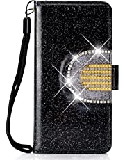 Lomogo Glitter Samsung Galaxy A5 (2017) / A520 Case Leather Wallet Case with Kickstand Card Holder Shockproof Flip Case Cover for Galaxy A5 (2017) - LOHHA090055 Black