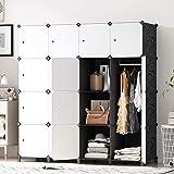 PREMAG Armoire Portable DIY, Penderie avec Portes, Tige Suspendue, Construction Solide pour Vêtements, Chaussures, Accessoire