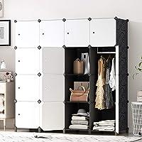 PREMAG Armoire Portable DIY, Penderie avec Portes, Tige Suspendue, Construction Solide pour Vêtements, Chaussures…