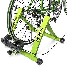 Relaxdays Fahrrad Rollentrainer inkl. Schaltung mit 6 Gänge für 26-28, bis zu 120 Kg belastbar, Heimtrainer Fahrrad für Indoor Fahrradfahren zu Hause, Stahl