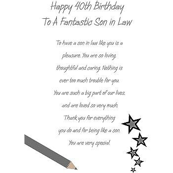 Son In Law 40th Birthday Card