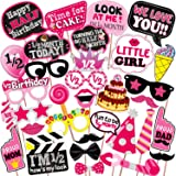 WOBBOX Half Birthday Photo Booth Party Props Pink for Baby Girl , 1/2 Birthday Decorations for Girl , Kids Birthday Party Dec