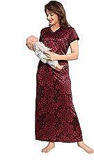 Soulemo Women's Beautiful Heart Print Feeding/Maternity/Nursing Nighty/Nightwear 709